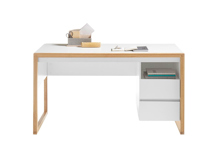 Bureau blanc laqué mat et bois naturel 1m40