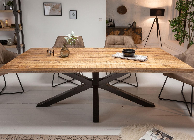 Table à manger bois massif manguier métal rectangulaire 1m80