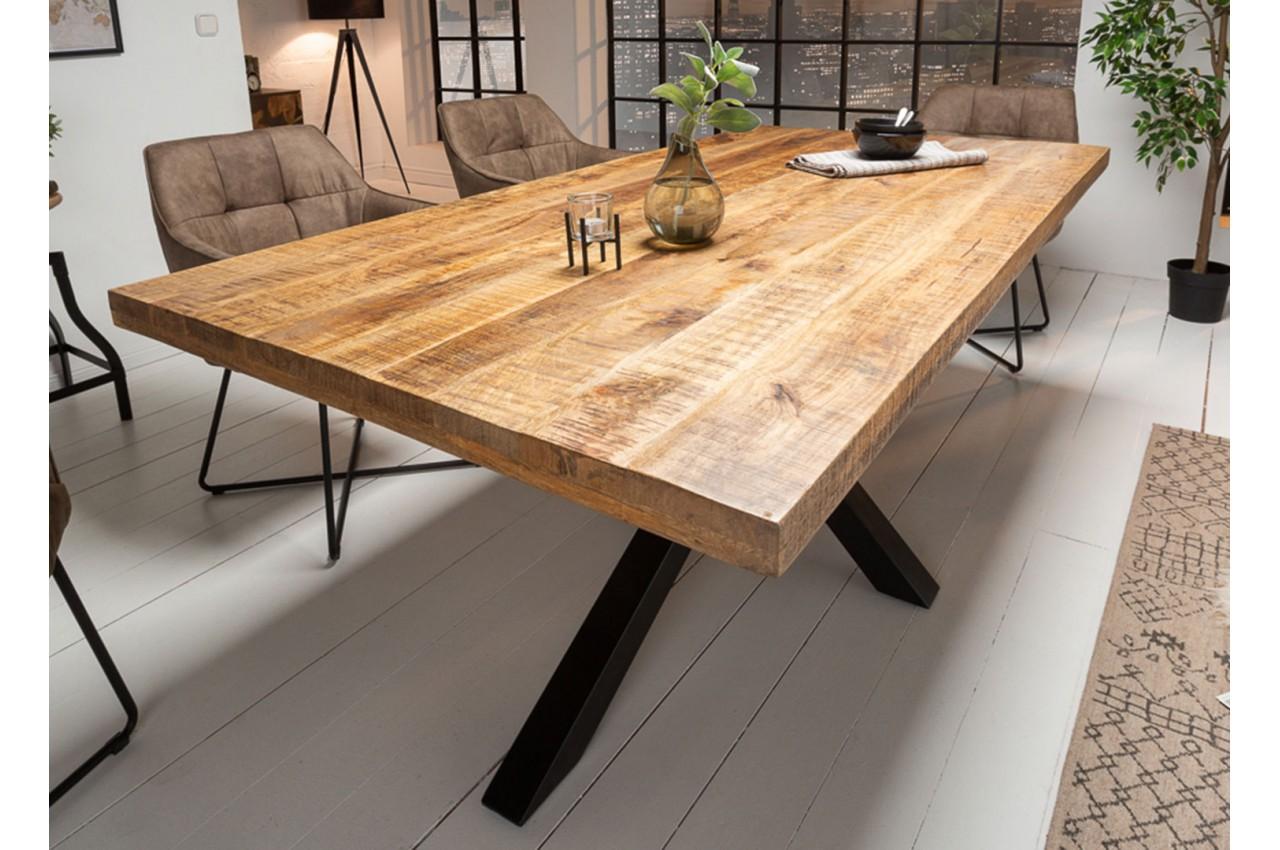 Table A Manger Bois Massif Manguier Metal Rectangulaire 1m80 Cbc