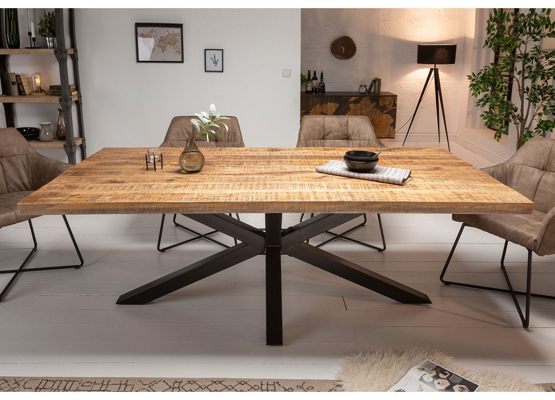 Table à manger bois massif manguier métal rectangulaire 2m