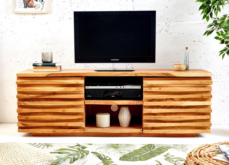 Meuble TV bois massif d'acacia 2 portes et 2 compartiments 1m50