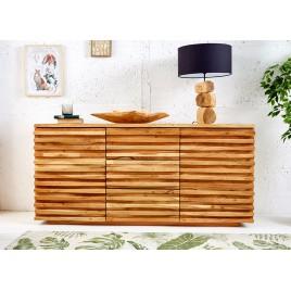 Buffet bois massif d'acacia 2 portes et 3 tiroirs 1m60