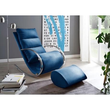 Fauteuil relax design tissu bleu + repose pieds