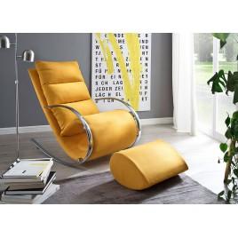 Fauteuil relax design tissu jaune + repose pieds