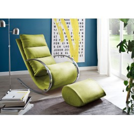 Fauteuil relax design tissu vert + repose pieds