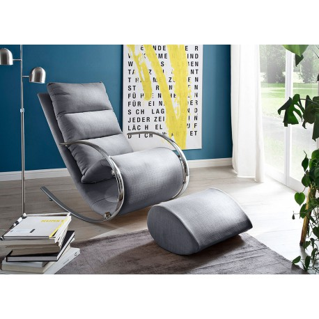 Fauteuil relax design tissu gris + repose pieds