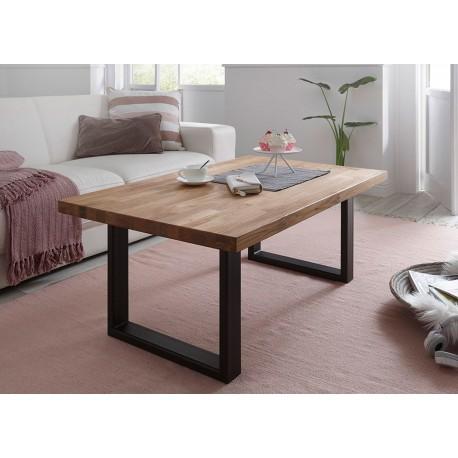 Table basse rectangulaire chêne massif et pieds métal noir