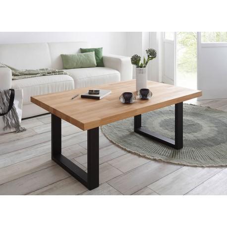 Table basse rectangulaire h tre massif et pieds m tal noir Table basse metal noir
