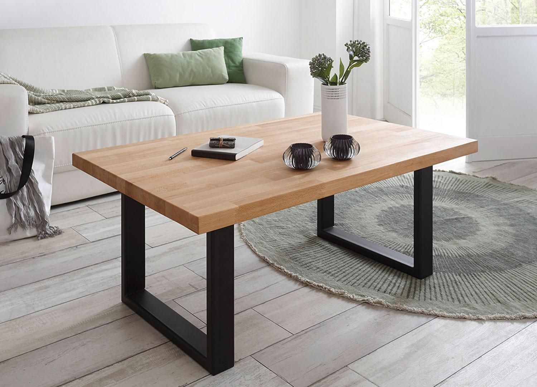 Table basse rectangulaire hêtre massif et pieds métal noir