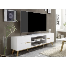 Meuble tv blanc et bois 4 tiroirs 169 cm