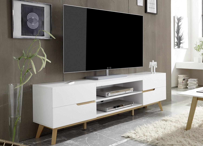 Meuble Tv Hifi Intégré meuble tv blanc et bois 4 tiroirs 169 cm - cbc-meubles