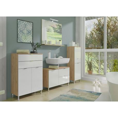 Ensemble meubles salle de bain blanc et chêne grandson