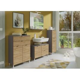 Ensemble meubles salle de bain chêne grandson et gris graphite