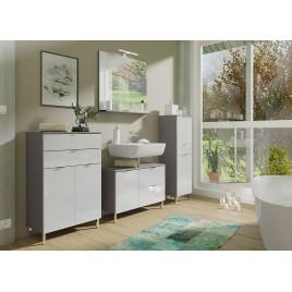 Ensemble meubles salle de bain blanc et gris graphite