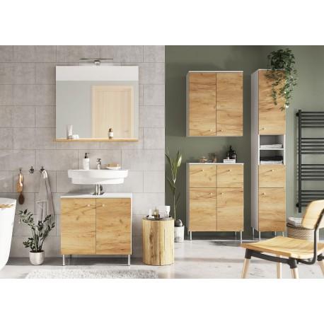 Meubles de salle de bain chêne navarra et blanc