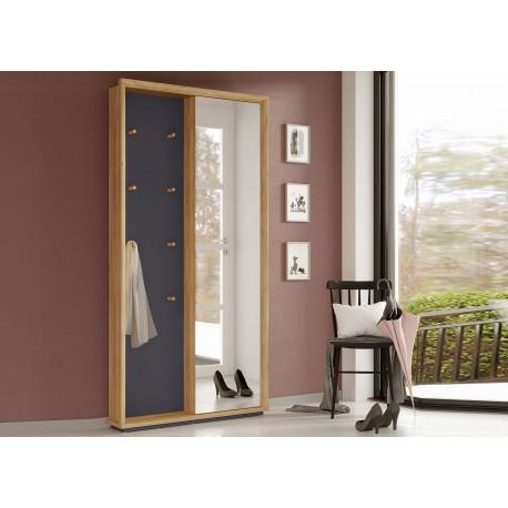 Meuble d'entrée design avec miroir gris graphite et chêne navarra