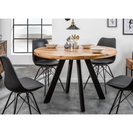 Table de salle à manger ronde bois massif manguier et pied métal