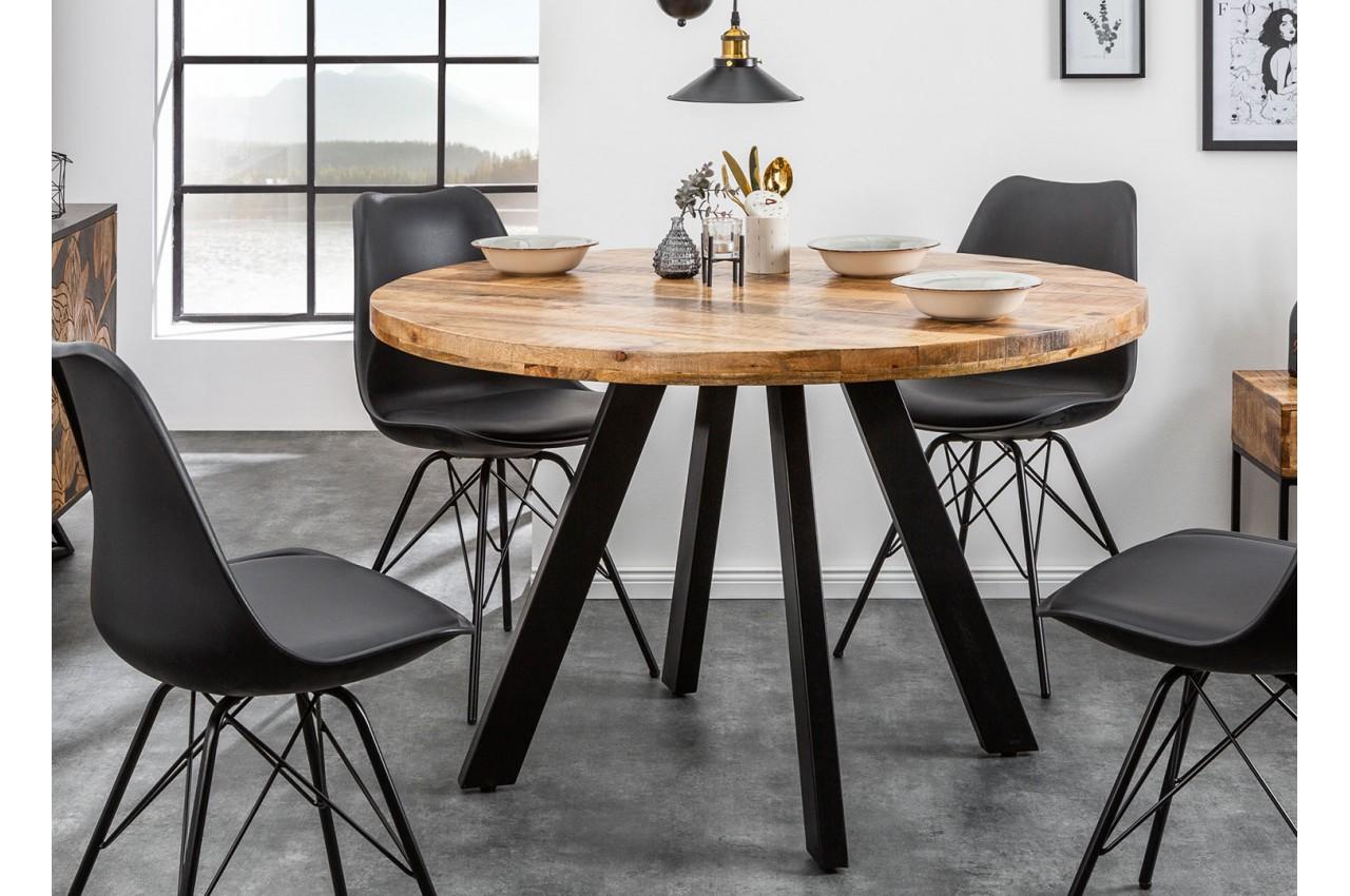 Table de salle manger ronde bois massif manguier et pied - Table de salle a manger en bois ...