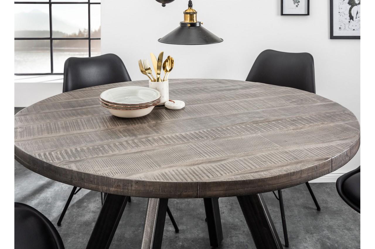 Table de salle à manger ronde bois massif manguier gris et