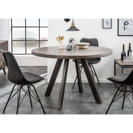 Table de salle à manger ronde bois massif manguier gris et pied métal