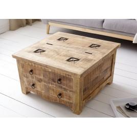 Table basse carrée bois massif avec coffre de rangement