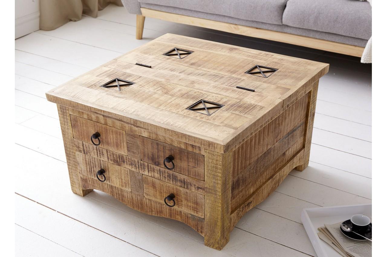 Table basse carrée bois massif avec coffre de rangement - Cbc-Meubles