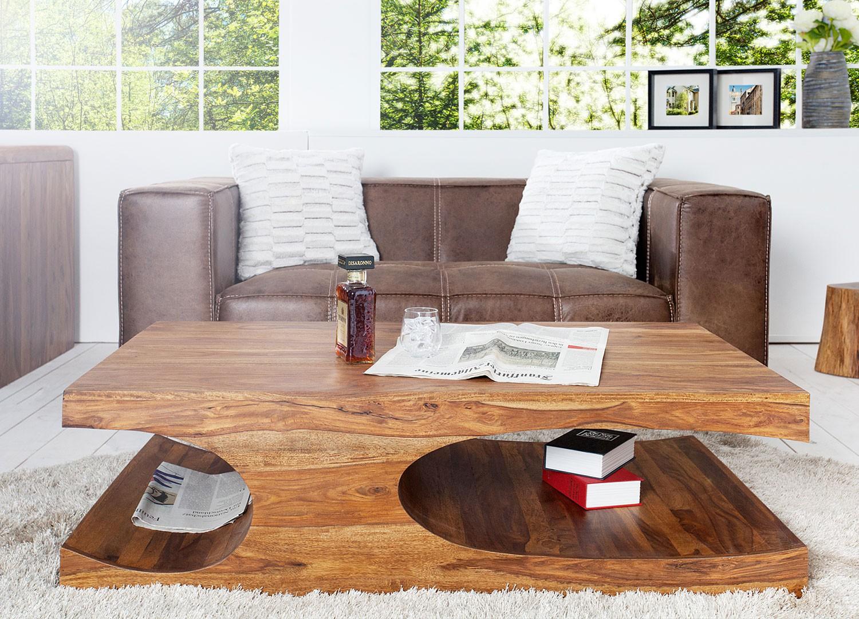 Table basse bois massif sesham 120 cm