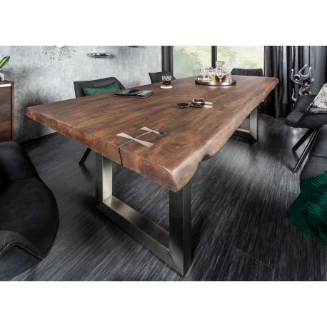 Table à manger bois massif acacia 2m et pied acier inoxydable