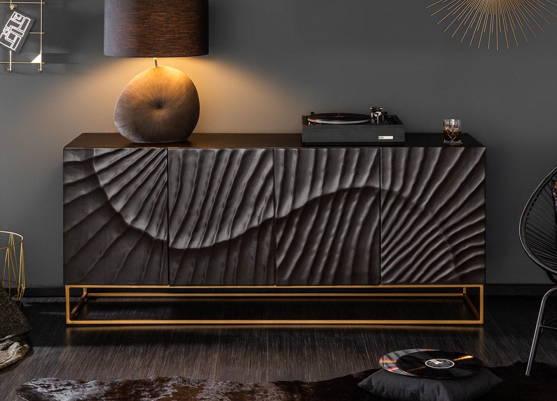 Buffet bois de manguier sculpture en 3D et pied métal doré 177 cm