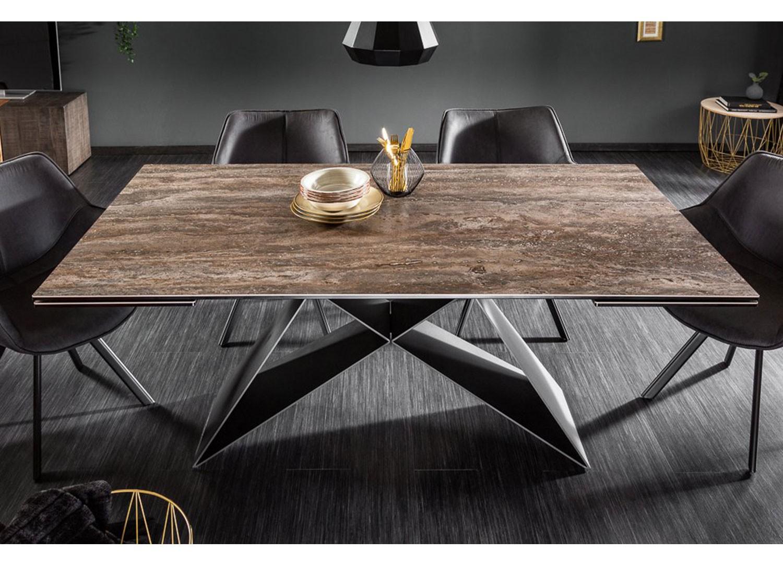 Table à manger extensible céramique 180-260 cm et pieds métal