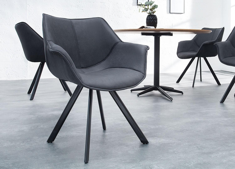 Chaises gris antique avec accoudoirs style rétro