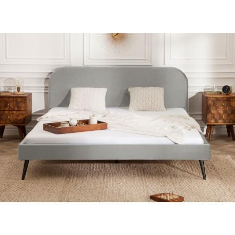 Lit design velours gris 140x200 cm