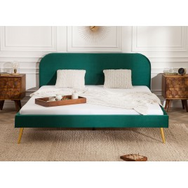 Lit design velours vert 140x200 cm