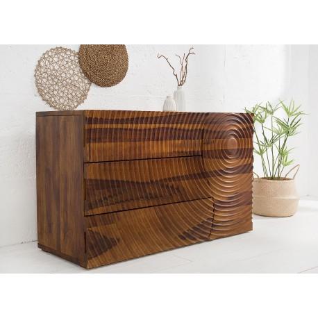 Buffet bois massif 120 cm 1 porte et 3 tiroirs