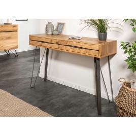 Console en bois massif et pied noir métal 120 cm