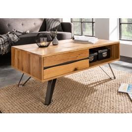 Table basse rectangulaire en bois massif et métal noir