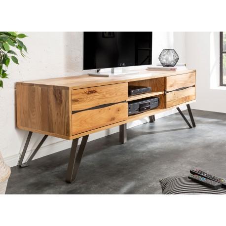 meuble tv en bois massif et pied metal 160 cm cbc meubles