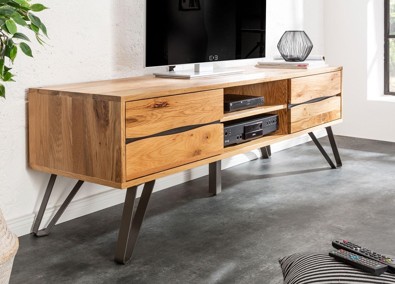 Meuble tv en bois massif et pied métal 160 cm