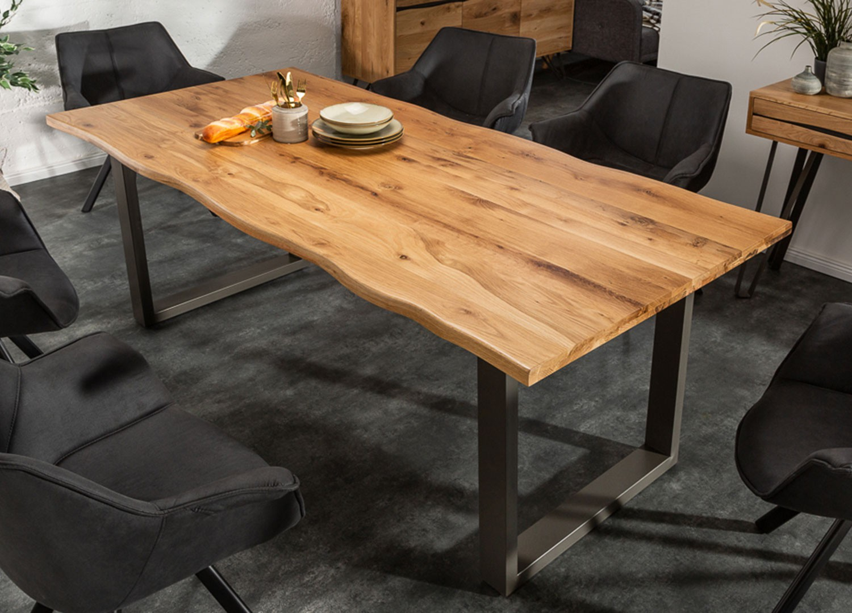 Table de salle à manger bois et massif et métal 200 cm
