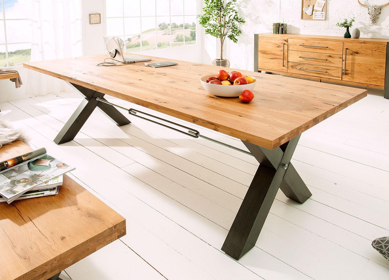 Table de salle à manger 2m bois massif et métal
