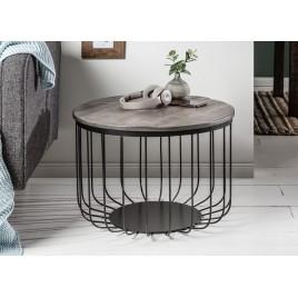 Table basse ronde bois d'acacia gris et métal