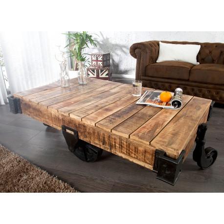 Table basse design sur roulette 120 cm