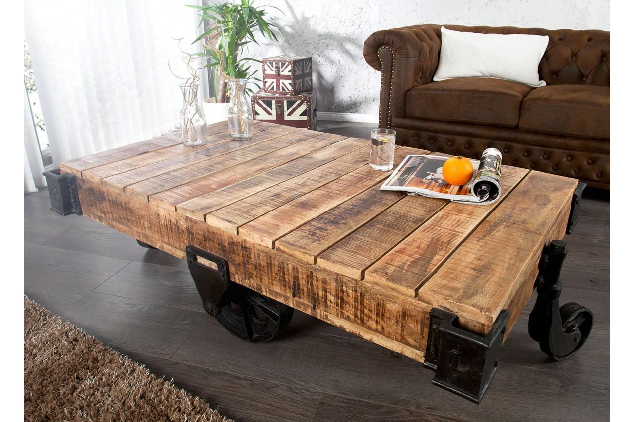 Table basse design sur roulette 120 160 cm cbc meubles Table basse sur roulette