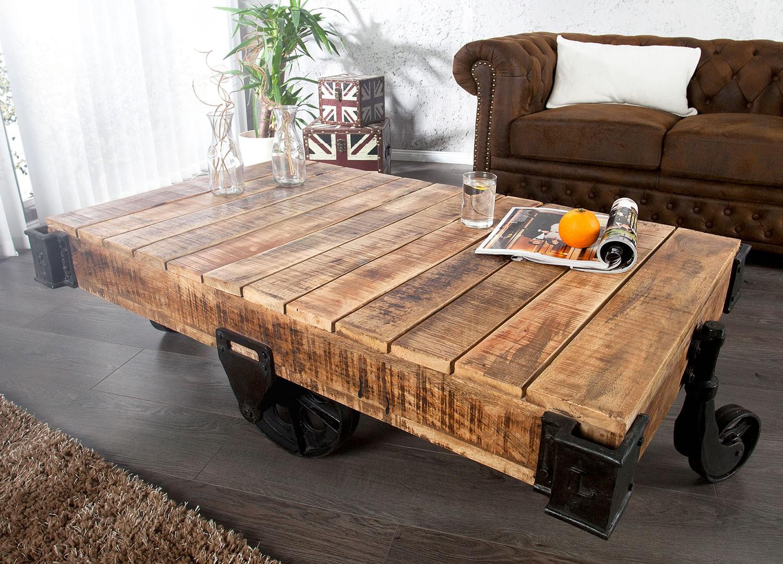 Table basse design sur roulette 120-160 cm