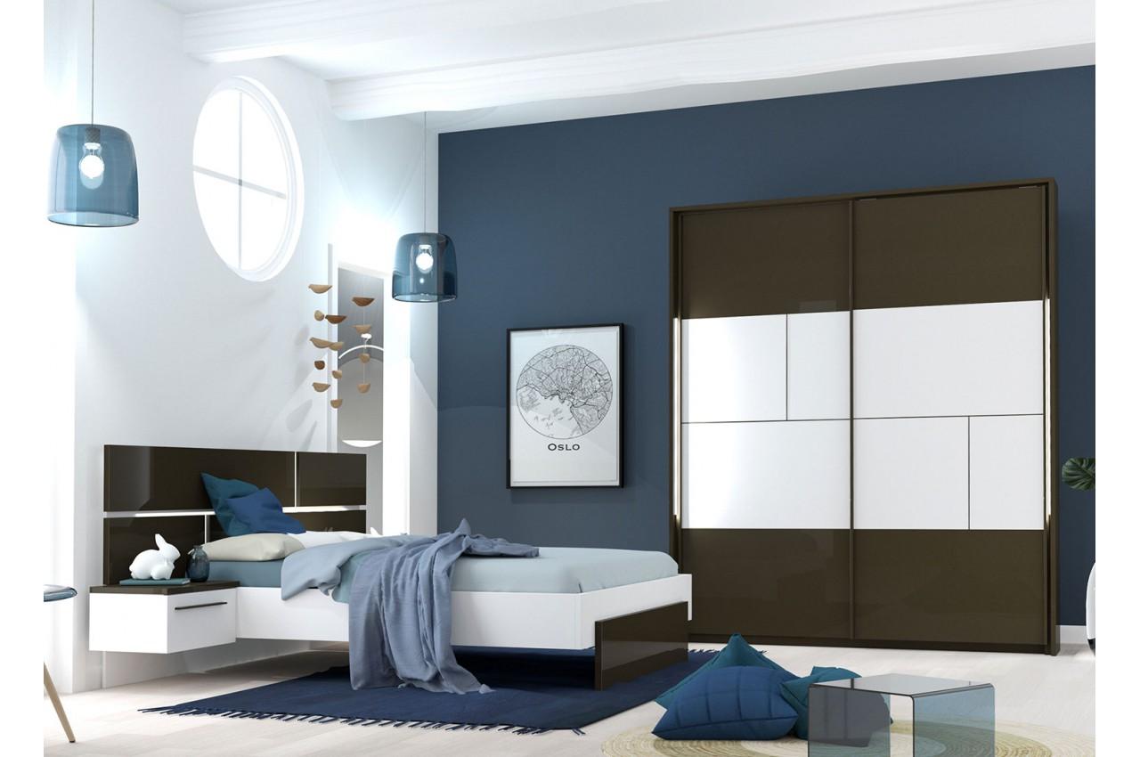 Deco Chic Chambre Adulte meubles de chambre adulte gris anthracite et blanc - cbc-meubles