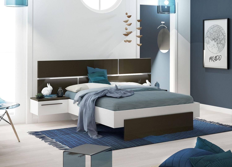 Chambre Gris Anthracite Et Blanc lit 140x190 cm blanc et gris anthracite laqué avec chevets
