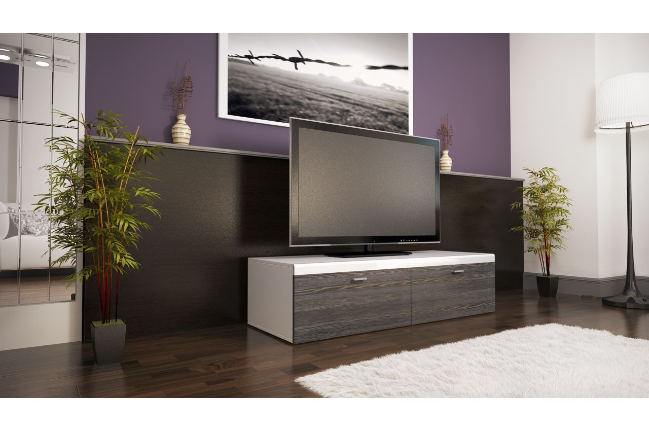 Meuble tv design 2 portes laqu coloris au choix cbc - Meuble bas design laque ...