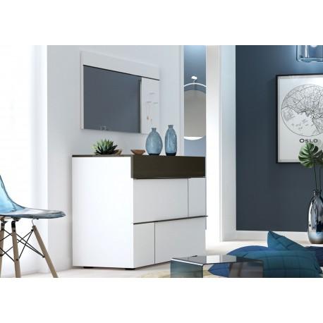Meuble commode rangement 3 tiroirs blanc et gris anthracite