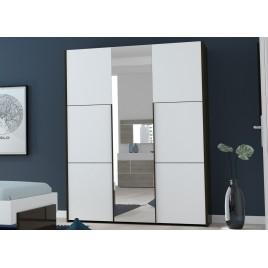 Armoire 3 portes avec miroir blanc laqué et noir