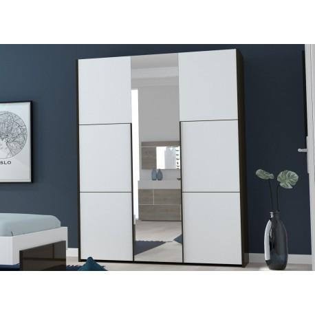 Armoire 3 Portes Avec Miroir Blanc Laque Et Noir Cbc Meubles